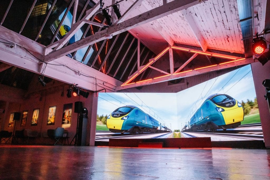 LED screens for train product launch at the Custard Factory Birmingham